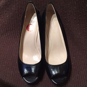 Calvin Klein black leather open toe pumps